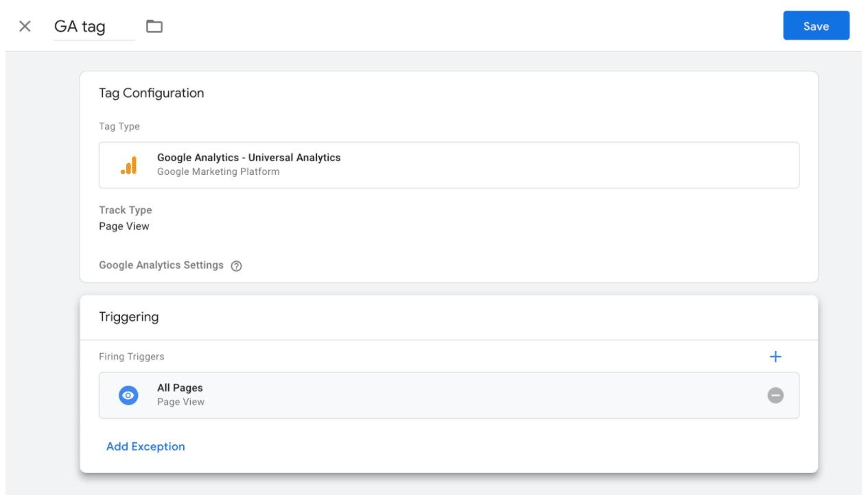Google Analytics tag final page