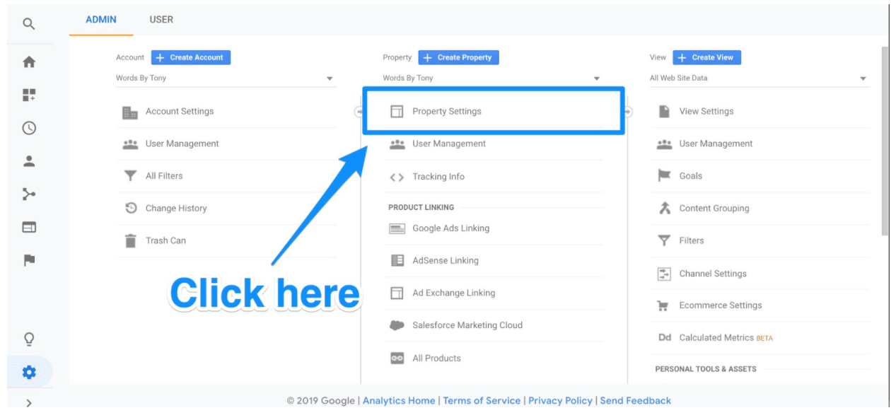 Google Search Console Property Settings