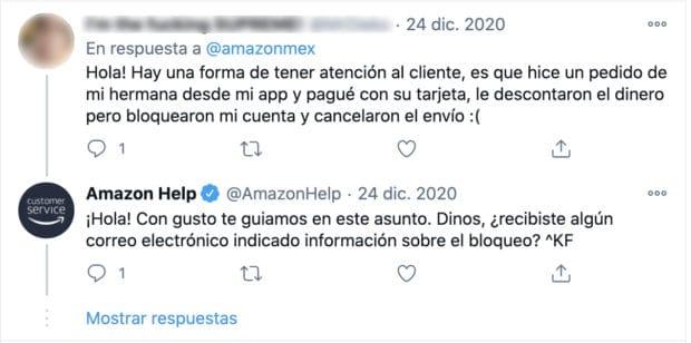Captura de pantalla de la interacción de Amazon Help con un cliente