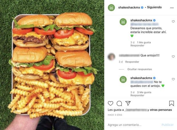 Publicación de Instagram de Shake Shack con comentarios