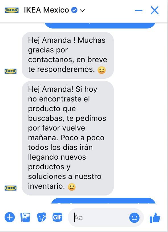 Captura de pantalla de una conversación que se llevó a cabo entre IKEA México y un cliente