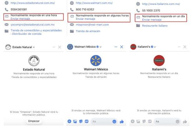 Captura de pantalla del nivel de respuesta de tres marcas: Estado natural, Walmart México e Italiannis