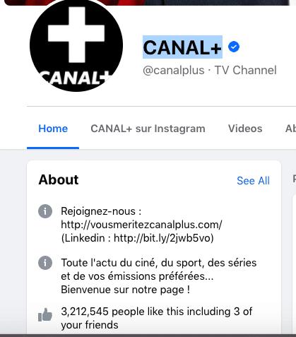 Nombre de fans sur la page Facebook de Canal+