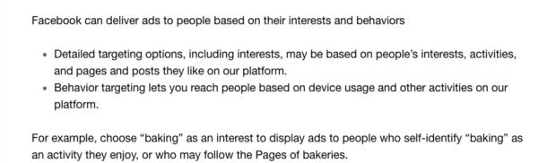 définition centre d'intérêt selon Facebook Blueprint