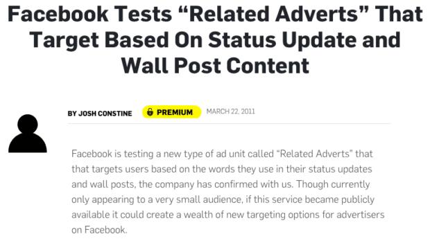 Article AdWeek sure le ciblage publicitare Facebook