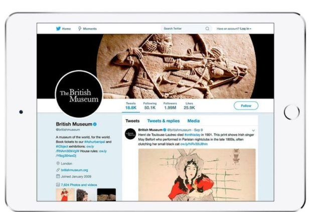 A screenshot of the British Museum's Twitter feed