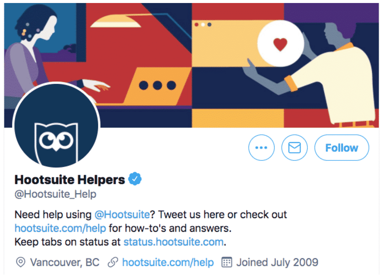 Hootsuite Help Twitter page