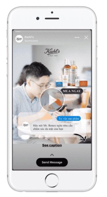 Kiehl's Vietnam message botcreate facebook messenger ads