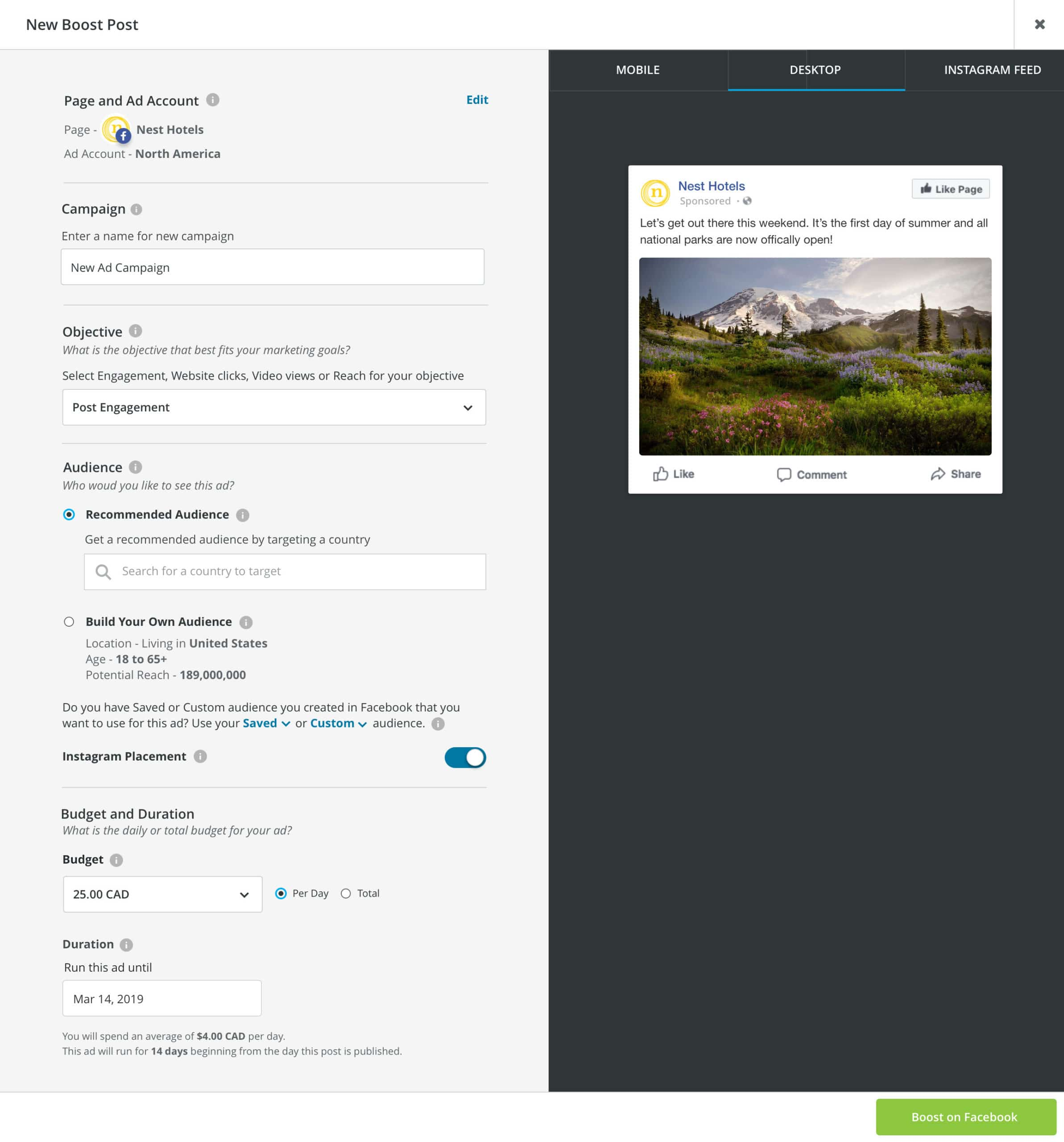boost post on Hootsuite dashboard