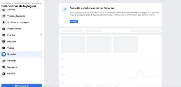 Captura de pantalla de las Estadísticas de Historias de Facebook