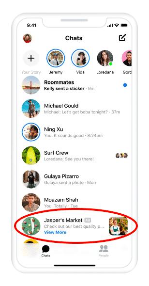 anuncio en Messenger app de Jasper's Market