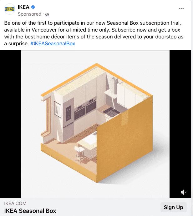 Animação GIF de caixa sazonal IKEA