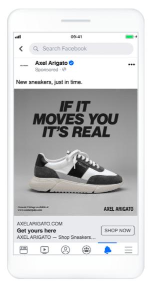 anuncios de Historias de Facebook y videos de Axel Arigato
