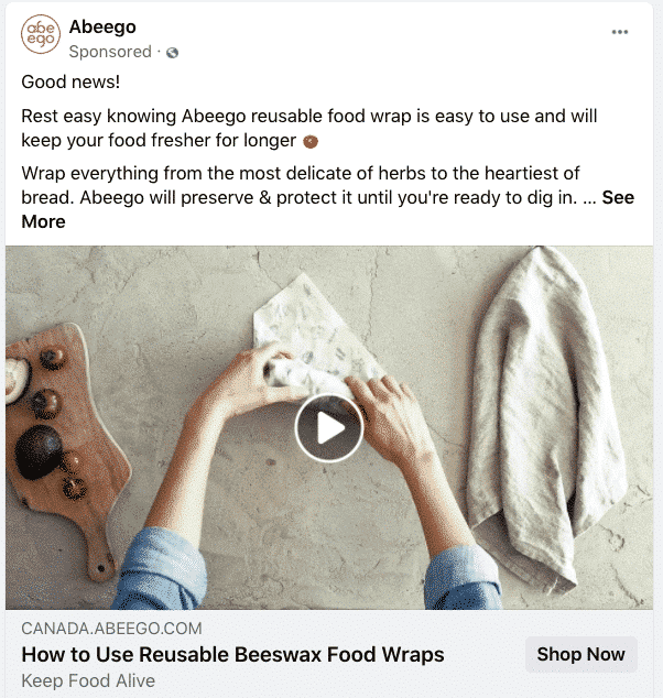 Abeego reusable beeswax food wraps video ad