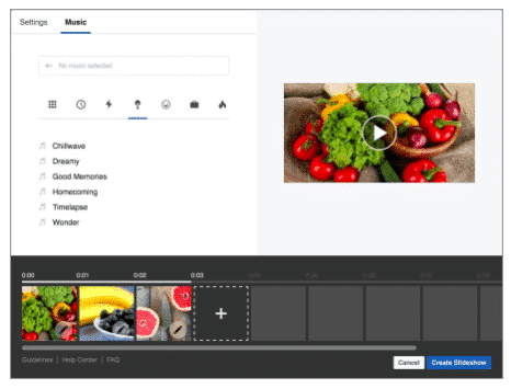 Build slideshow ad in Facebook Ads Manager