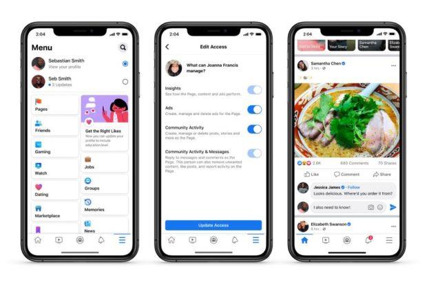 3 mobile phone screens showcasing Facebook's updated admin controls