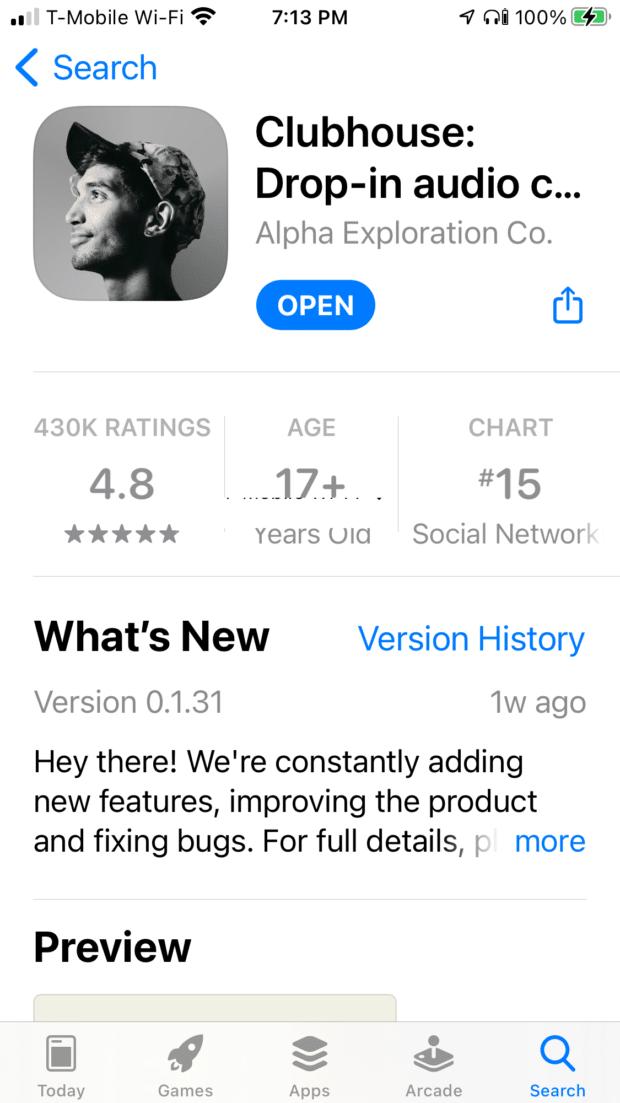 Clubhouse-App auf dem Smartphone