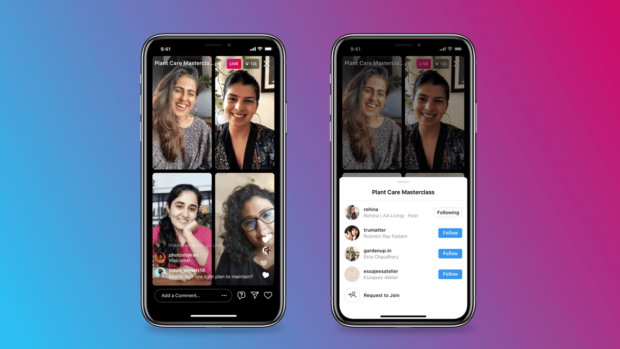 Instagram Live Rooms; two screenshots showing four speakers sharing a screen and adding new speakers to the live stream