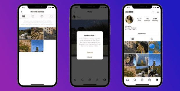 Instagram recently deleted folder; restoring Instagram post