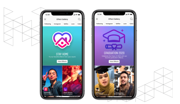 Image of two phone screens with Instagram Effect Gallery