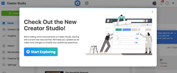 Banner on Facebook: Check Out the New Creator Studio!