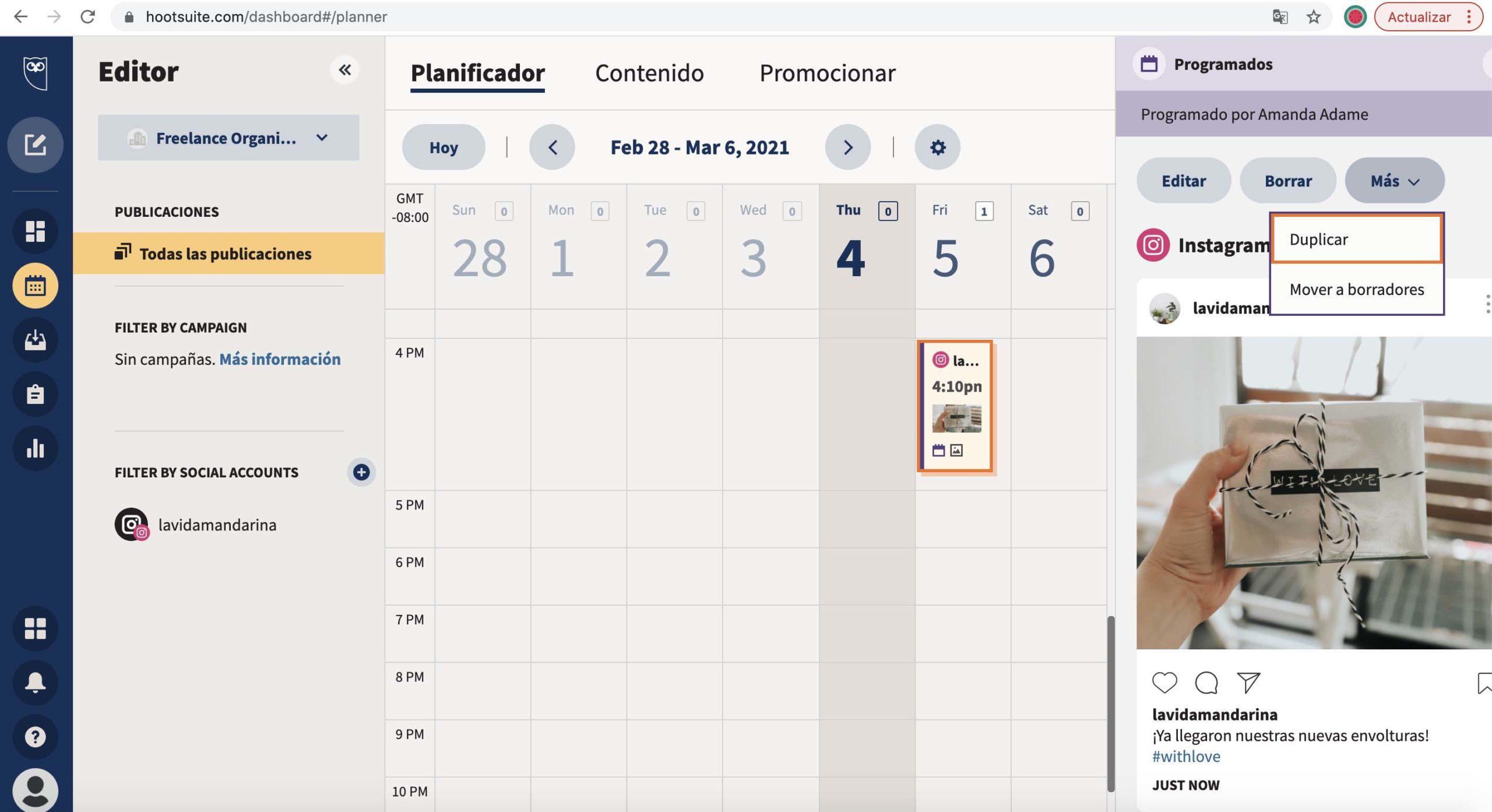 Publicación duplicada en el Planner