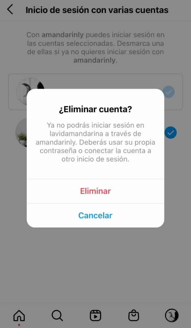 Opción para eliminar una cuenta en Instagram