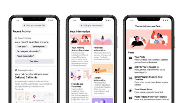"""3 mobile screens displaying the """"Access Your Information"""" section on Facebook: Recent Activity, Your Information, and Your Activity Across Facebook"""