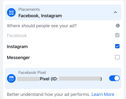 ad placement on facebook or instagram