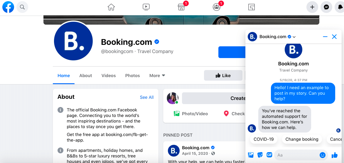 Booking.com Facebook messenger chatbot