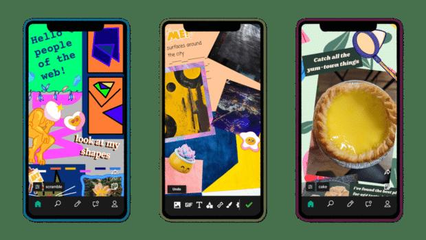 3 screens showcasing new Facebook design app, e.gg.