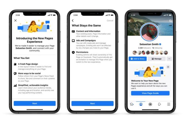 3 mobile phone screens explaining the updated Facebook Pages experience