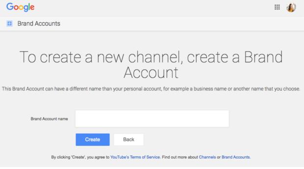page de compte YouTube,créer un compte de marque
