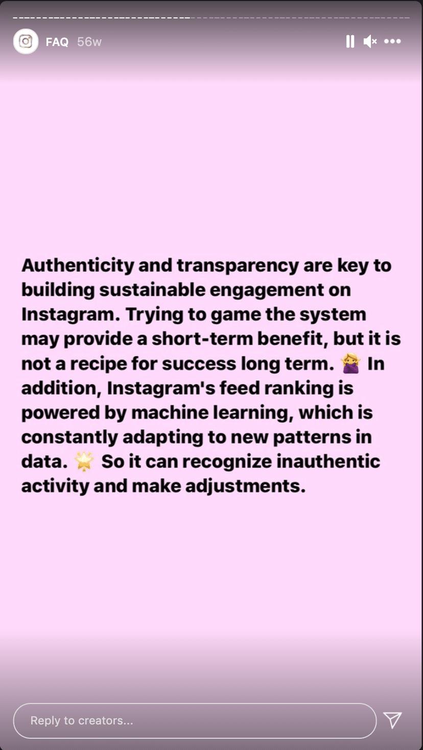 FAQ-Post zu nicht authentischem Content bei Instagram Creators