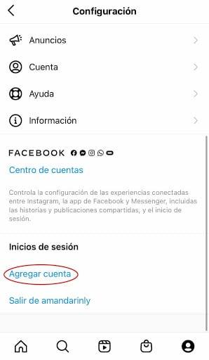 Botón para agregar una cuenta en la app de Instagram