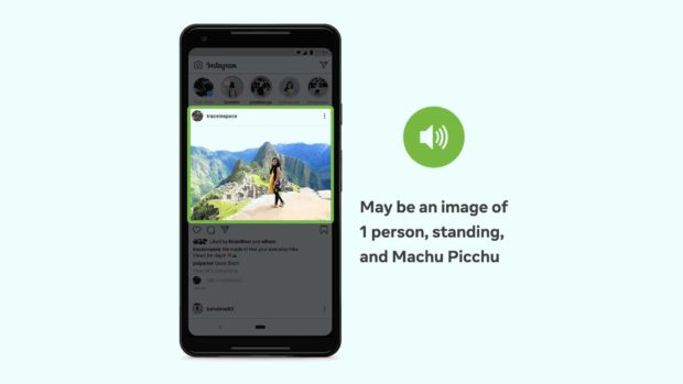 Instagram picture on phone screen with automatically generated description: Might be an image of 1 person, standing, and Machu Picchu