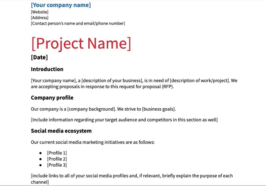 Social Media RFP-Vorlage mit Firmen- und Projektname