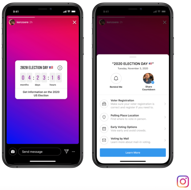 Instagram countdown to election day and voting center