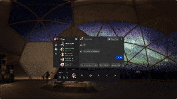 Messenger chat window in Oculus