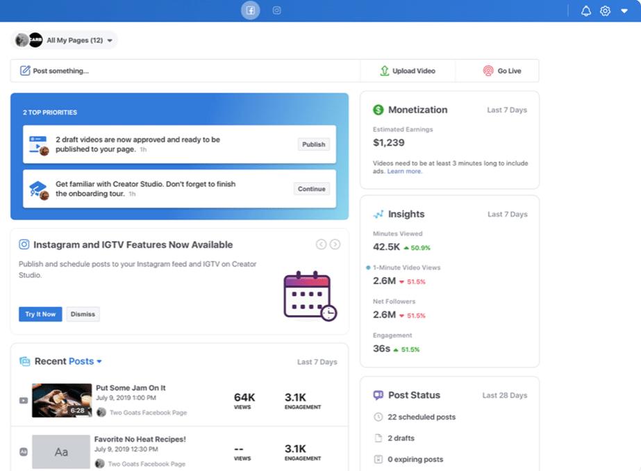 Facebook Creator Studio features