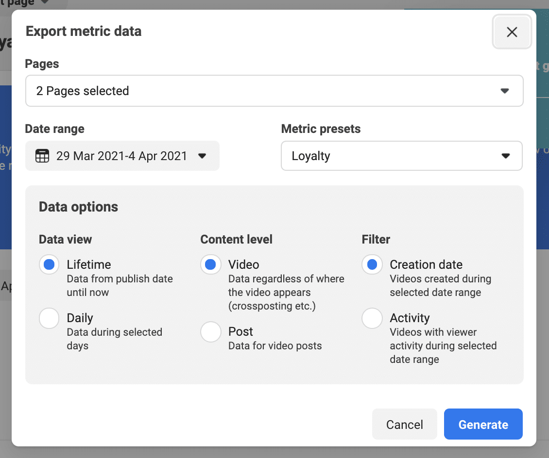 export metric data