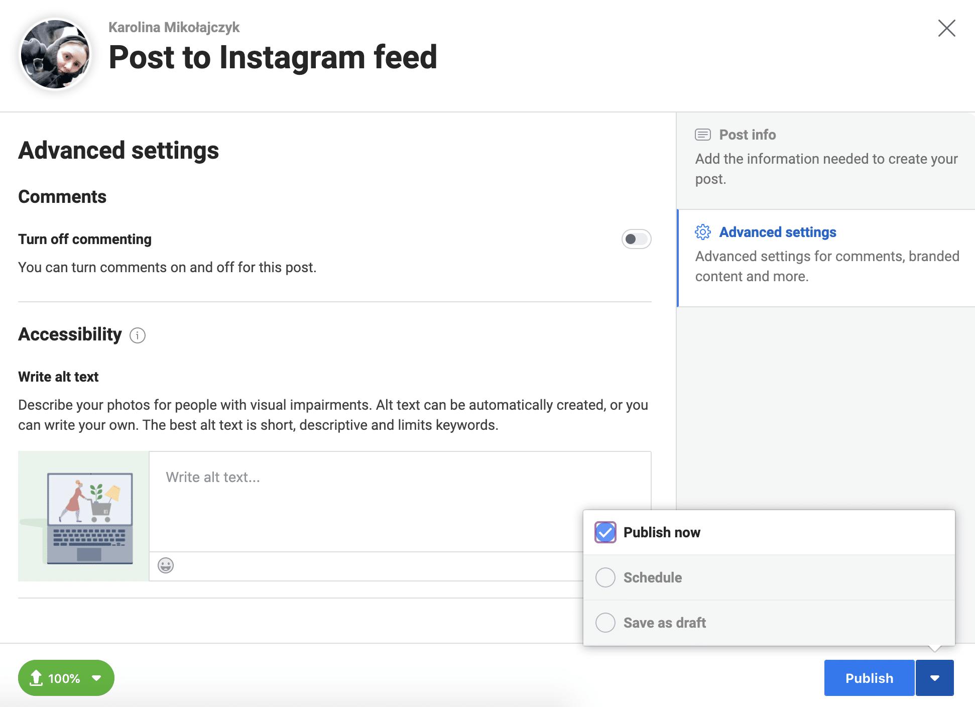 Instagram Creator Studio advanced settings