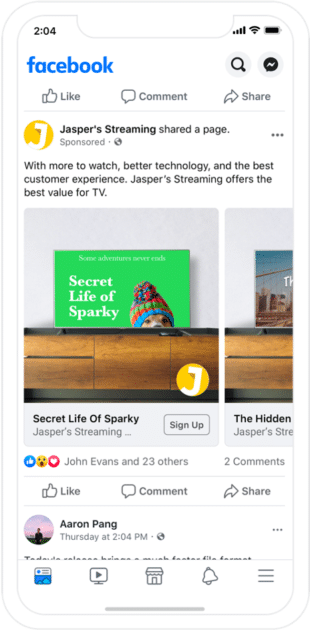 Facebook Dynamic ad displayed on mobile phone