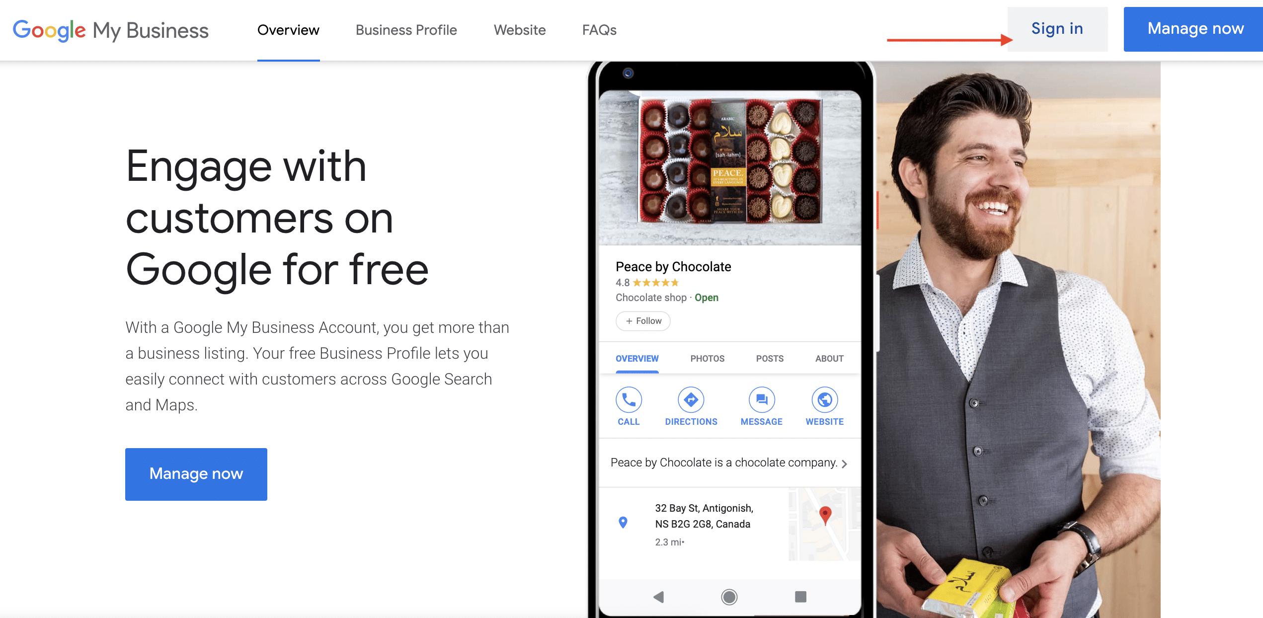 Melden Sie sich bei Google My Business an
