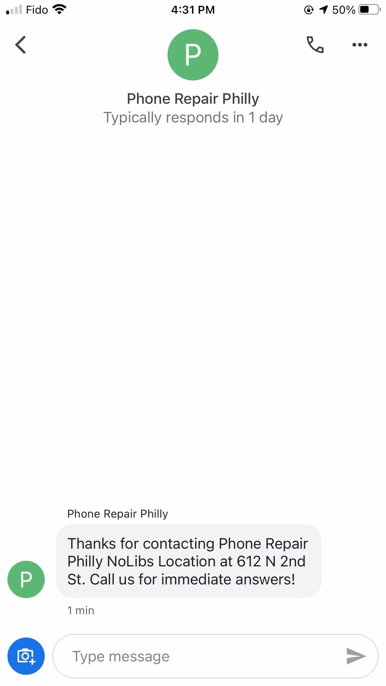 Telefonreparatur Philly Willkommensnachricht