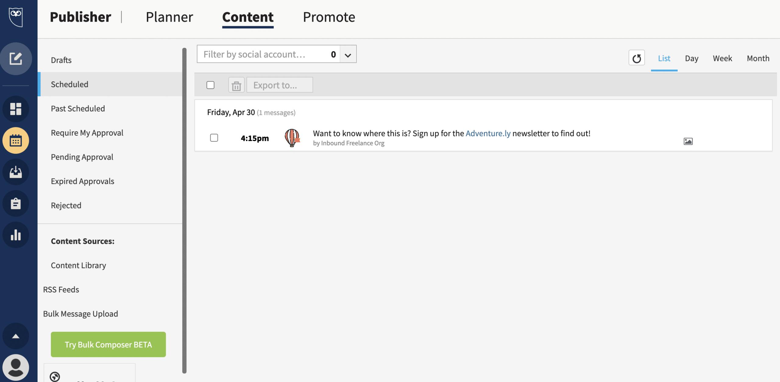 content tab