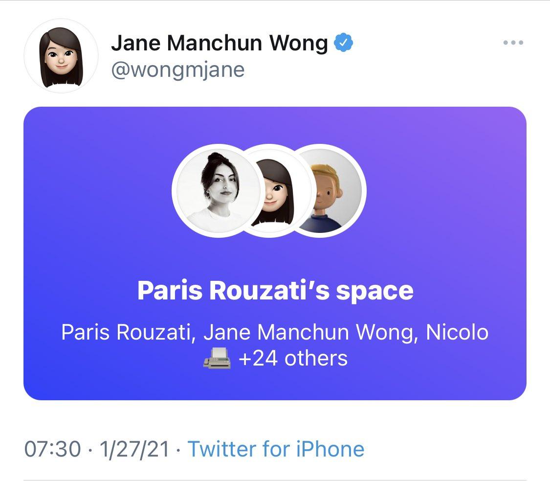 purple spaces box within tweet