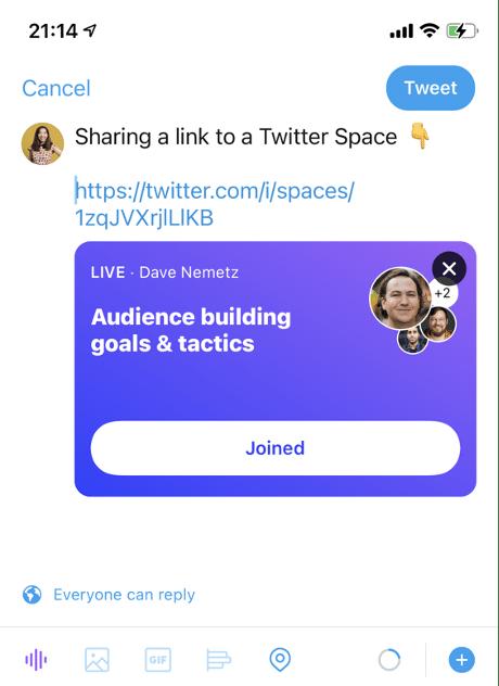 link to Twitter Space via tweet