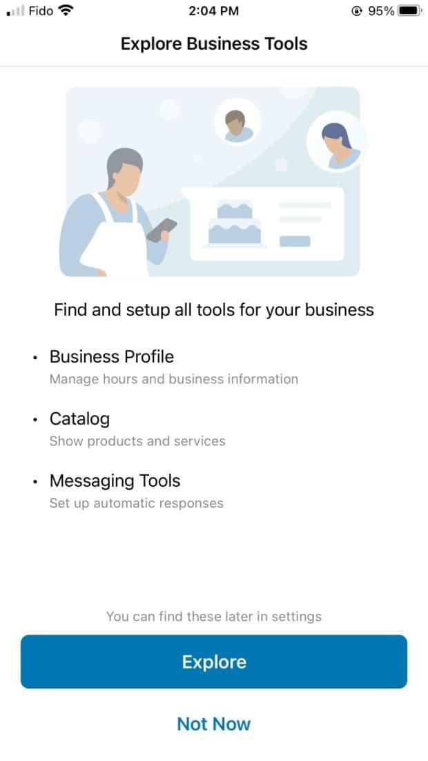 explorer les outils de WhatsApp business