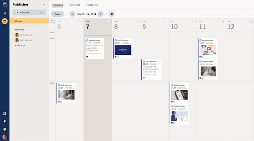 Screenshot showing the calendar view available to Amplify users